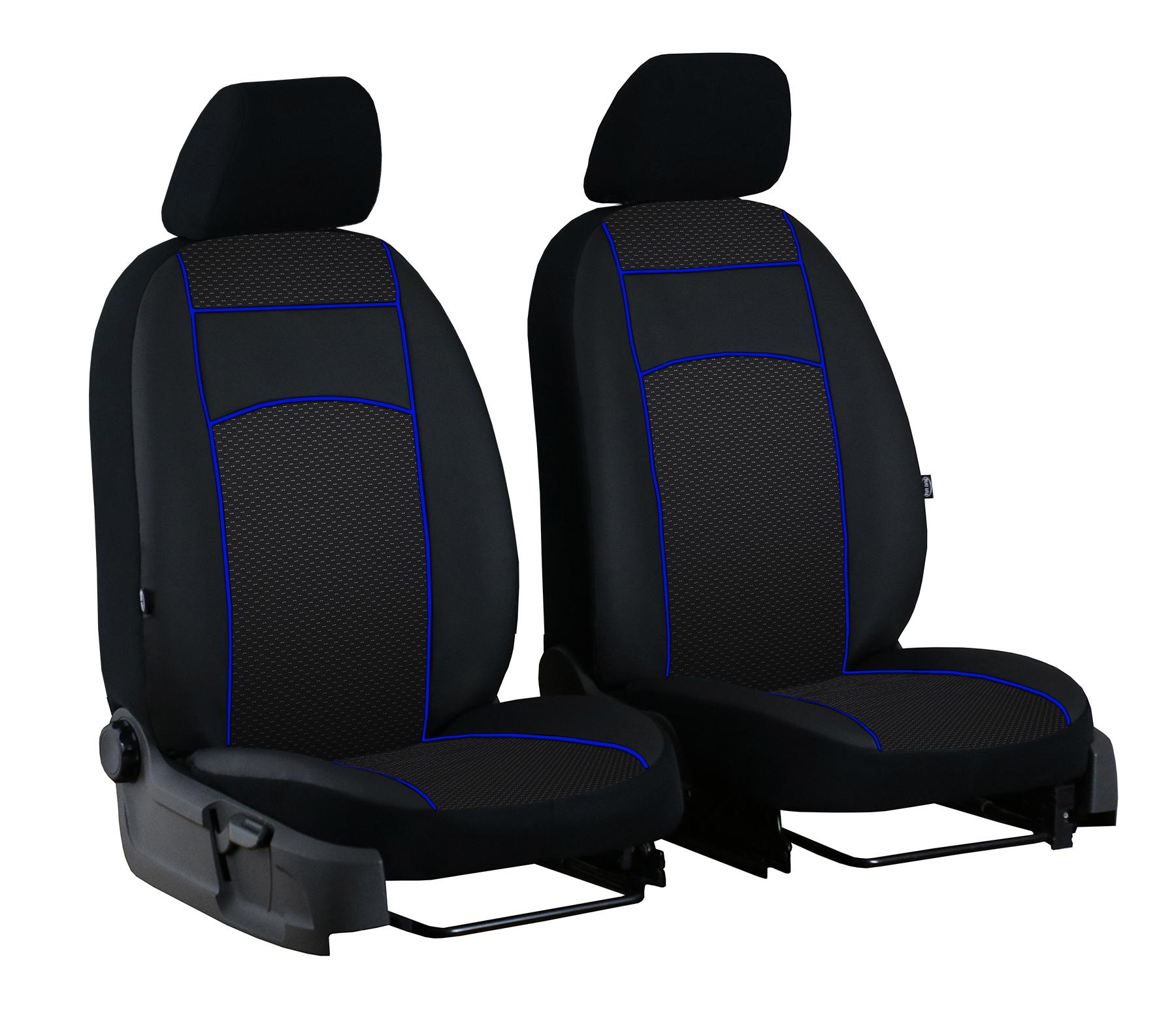 Für Trafic ab 2014 paßgenaue Sitzbezüge 1+2 im Design VIP-1 SCHWARZ